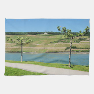 Niederwalddenkmal with coarse home on the Rhine Tea Towel