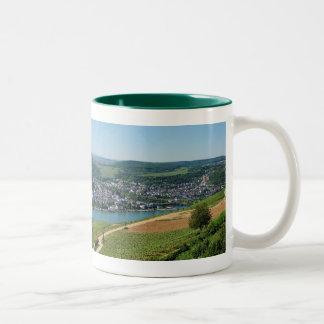 Niederwalddenkmal with coarse home on the Rhine Two-Tone Coffee Mug