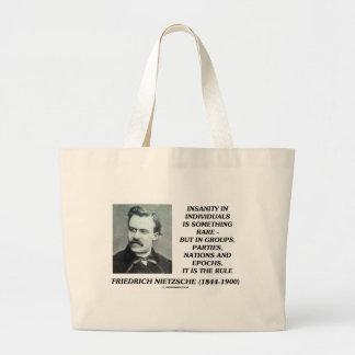 Nietzsche Insanity Rare In Individuals Quote Jumbo Tote Bag