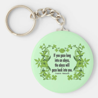 Nietzsche Quote If You Gaze Long into an Abyss Key Ring