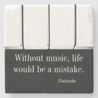 Nietzsche quote music coaster piano keys stone beverage coaster