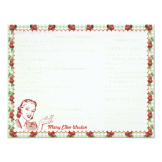 Nifty 50's Cherry Gal Personalized Flat Note Cards 11 Cm X 14 Cm Invitation Card