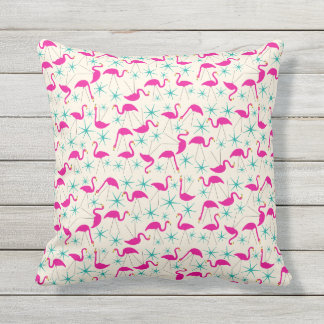 Nifty fifties - pink flamingos and stars pillow