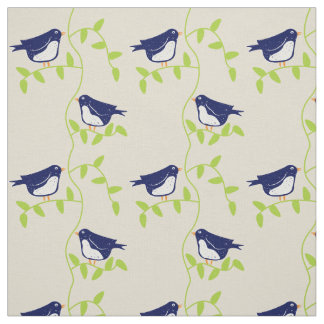 Nifty fifties - two blue birds fabric