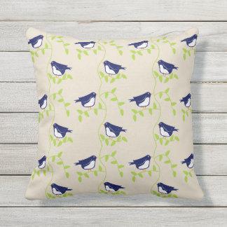 Nifty fifties - two blue birds outdoor cushion