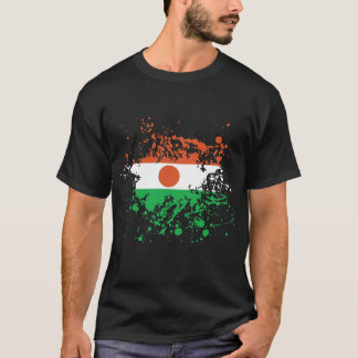 Niger Flag Ink Splatter T-Shirt