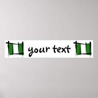 Nigeria Brush Flag Banner Poster
