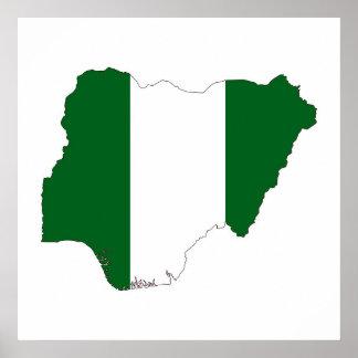 nigeria country flag map shape symbol poster
