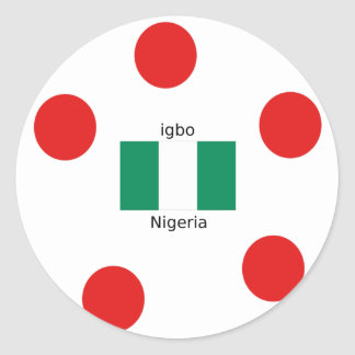 Nigeria Flag And Igbo Language Design Classic Round Sticker