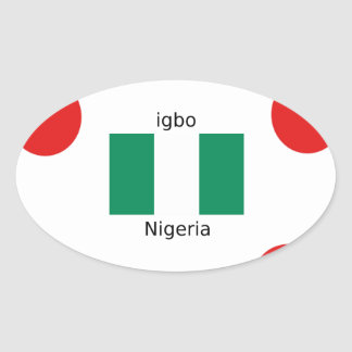 Nigeria Flag And Igbo Language Design Oval Sticker