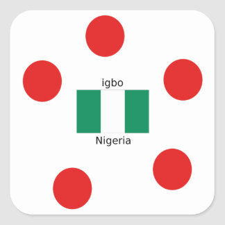 Nigeria Flag And Igbo Language Design Square Sticker