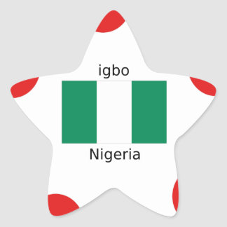 Nigeria Flag And Igbo Language Design Star Sticker