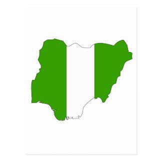 Nigeria flag map postcard