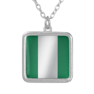 Nigeria flag silver plated necklace