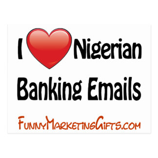 Nigerian Banking Email Humor Postcard