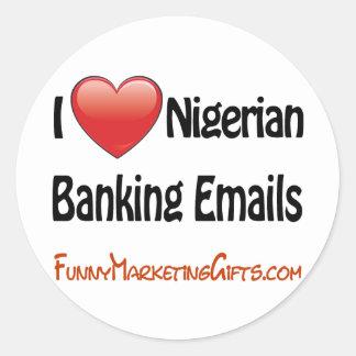 Nigerian Banking Email Humor Round Sticker