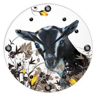 Nigerian Dwarf Goat Painting Floral  Wall Clock