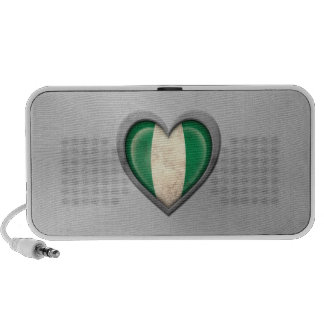 Nigerian Heart Flag Stainless Steel Effect iPhone Speakers
