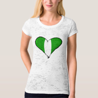 Nigerian love I heart Naija hearrt flag of Nigeria T-Shirt