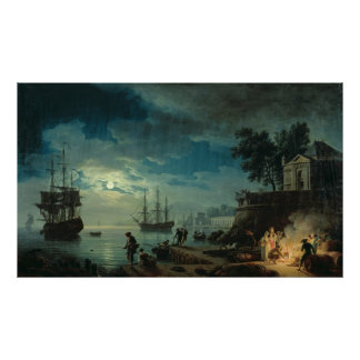 Night: A Port in the Moonlight, 1748 Poster
