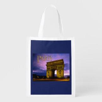 Night at Arc de Triomphe TEXT Paris Reusable Grocery Bag