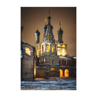 Night at the Orthodox monastery. Canvas Print