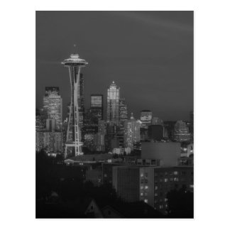 Night at the seattle postcard