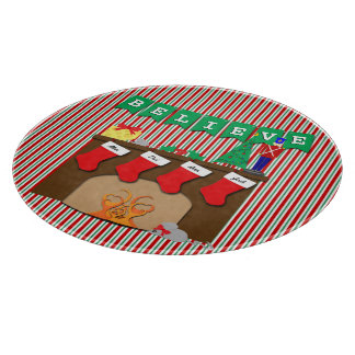 Night Before Christmas • Fireplace • 4 Stockings Cutting Board