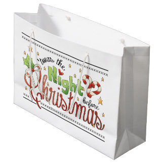 Night Before Christmas large gift bag word art