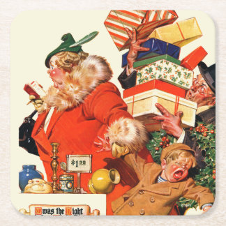 Night before Christmas Square Paper Coaster