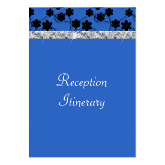 Night Blue & Black Flowers Diamond Shimmer Wedding Business Cards