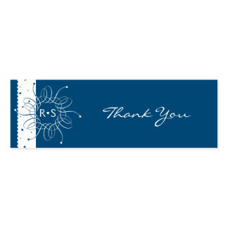 Night Blue Rosette Wedding Thank You Tag Pack Of Skinny Business Cards
