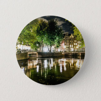 night canal in Amsterdam, Netherlands 6 Cm Round Badge