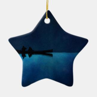 Night Canoe Ceramic Ornament