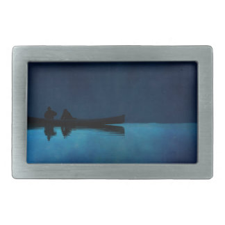 Night Canoe Rectangular Belt Buckles