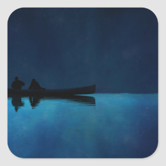 Night Canoe Square Sticker