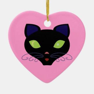 Night Cat Ceramic Heart Decoration