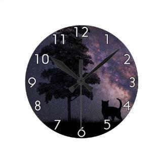 Night Cat Round Clock