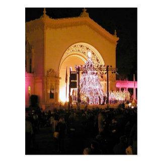 Night Christmas Trees Balboa Park Crowds Postcard