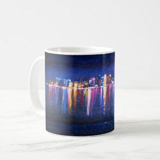 Night City Skyline, oil painting of Qatar Coffee Mug