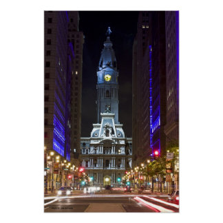 Night Color Broad St Canvas Poster