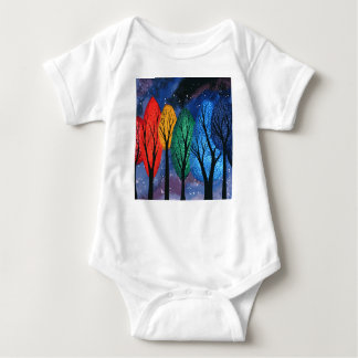 Night colour - rainbow swirly trees starry sky baby bodysuit