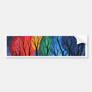 Night colour - rainbow swirly trees starry sky bumper sticker