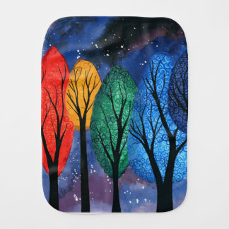 Night colour - rainbow swirly trees starry sky burp cloth