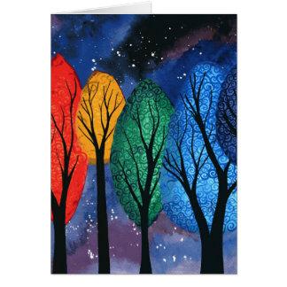 Night colour - rainbow swirly trees starry sky card
