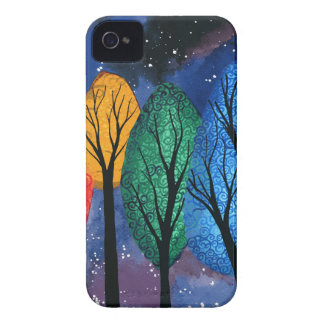 Night colour - rainbow swirly trees starry sky Case-Mate iPhone 4 case