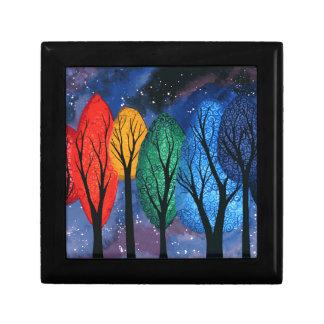 Night colour - rainbow swirly trees starry sky gift box