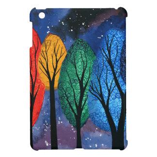 Night colour - rainbow swirly trees starry sky iPad mini cases