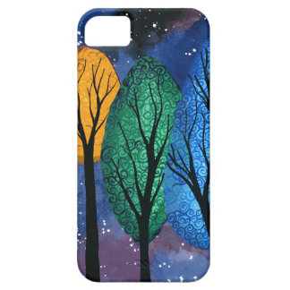 Night colour - rainbow swirly trees starry sky iPhone 5 cover