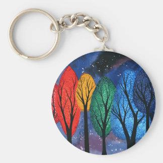 Night colour - rainbow swirly trees starry sky key ring